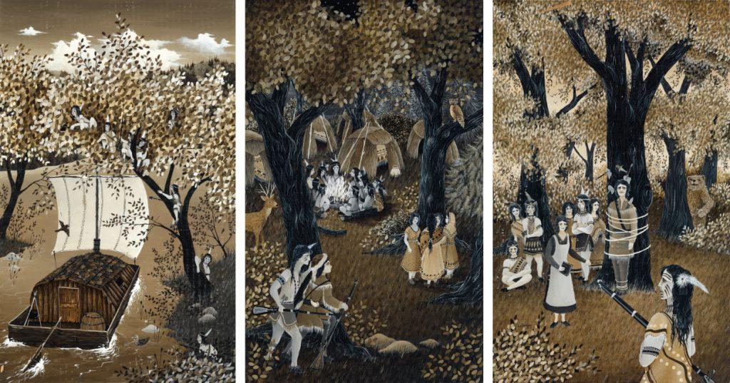 Robert Lo Grippo, complete set of seven acrylic illustrations for James Fenimore Cooper's The Deerslayer, 1983.