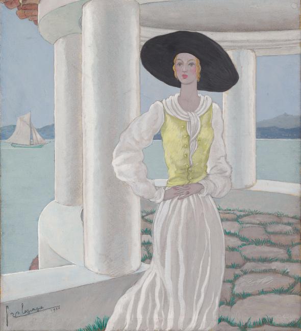 Georges Lepape, Sur la Terrasse, gouache and pencil, cover for Vogue, 1930.