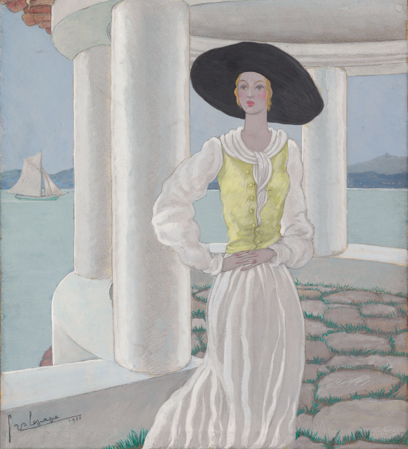 Georges Lepape, Sur la Terrasse, gouache and pencil, cover for Vogue, 1930.