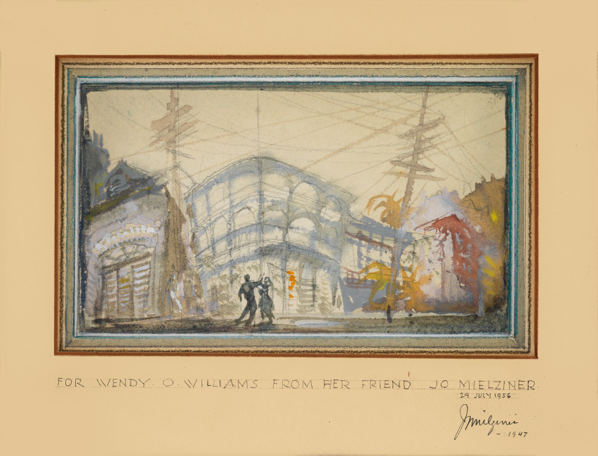 Jo Mielziner, A Streetcar Named Desire, watercolor, graphite and gouache, first color study for the award-winning 1947 production.