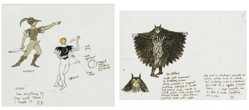 Edward Gorey, Swan Lake, Hunters/Siegfried, Van Rothbart, watercolor, pen and ink, costume designs for the 1975 production of Swan Lake at Rockland Community College, Suffern, NY.