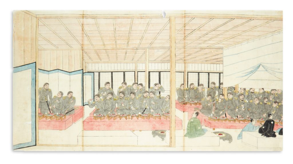 A sushi banquet for Commodore Perry & his officers, ink and gouache, Japan, 1854.