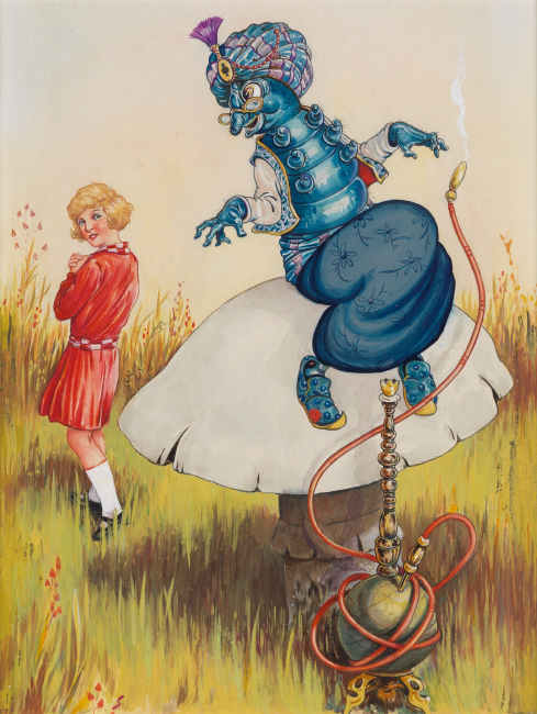 D.R. Sexton, 'Come Back!' the caterpillar called after her, watercolor and gouache, for Lewis Carroll's Alice in Wonderland, 1933.