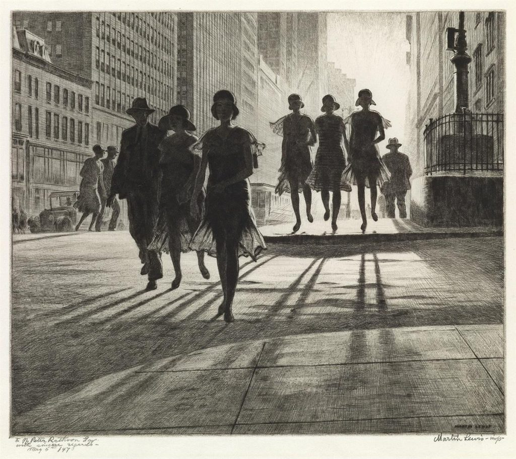 Martin Lewis, Shadow Dance, drypoint & sand ground of a shadowy group of woman crossing a New York City street, 1930.