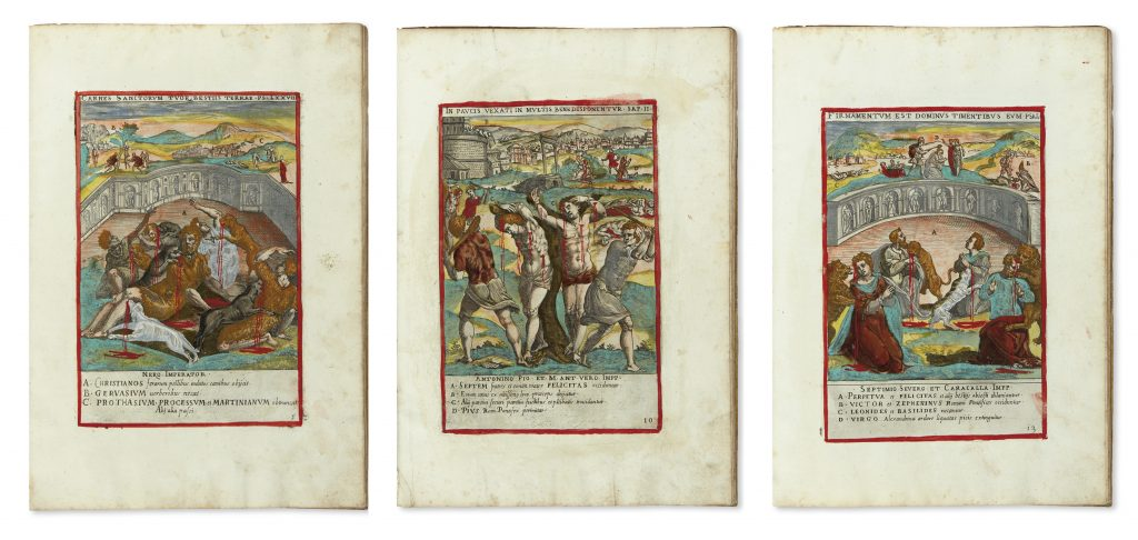 Niccolò Circignani, Ecclesiae militantis triumphi, image of three scenes of saints martyrdom, Rome, 1585.