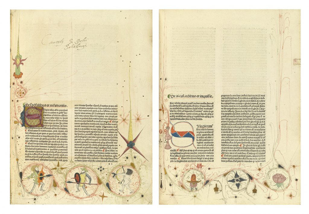 Nicolaus Panormitanus de Tudeschis, Lectura super V libris Decretalium, image showing two book pages with decorations in the margins, Basel, 1480-81.