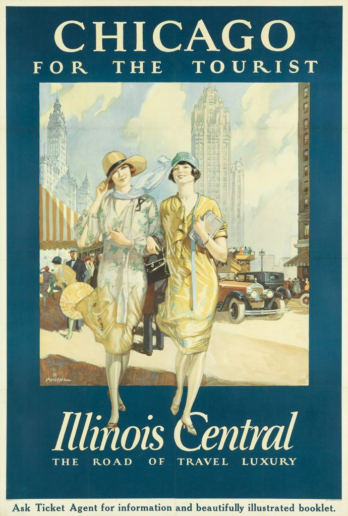 Paul Proehl, Chicago for the Tourist / Illinois Central, poster featuring two flapper style girls in Chicago, 1925.