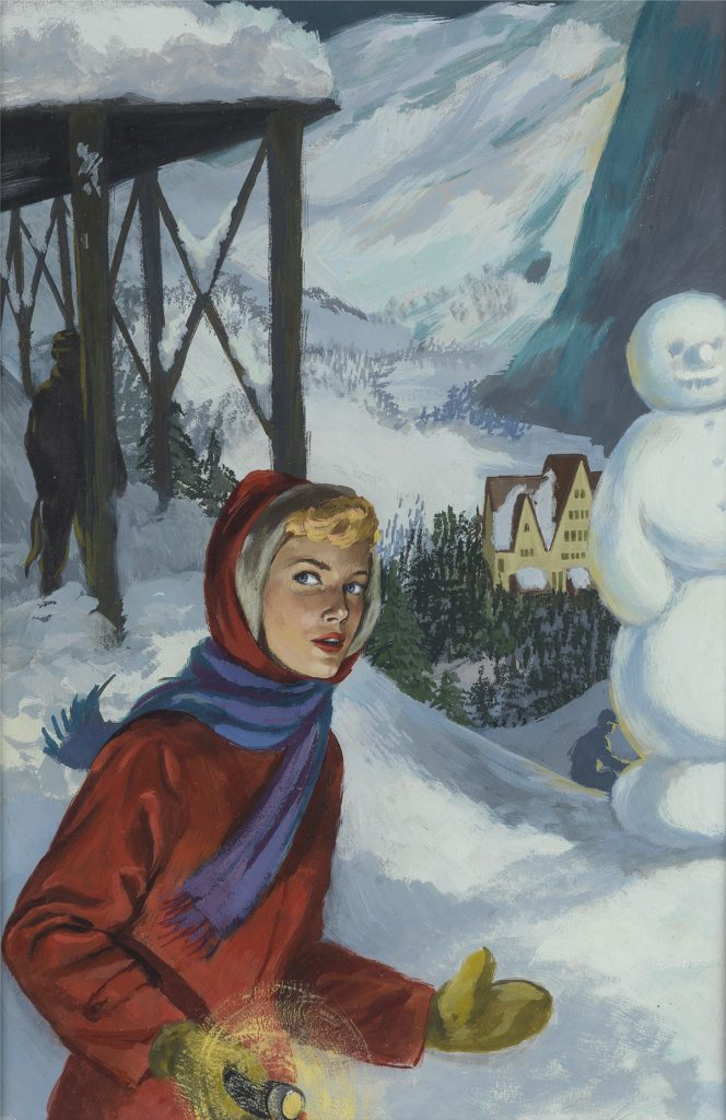 Polly Bolian, Mystery at the Ski Jump, original cover & frontispiece illustration for the book of the same name by Carolyn Keene, 1960.