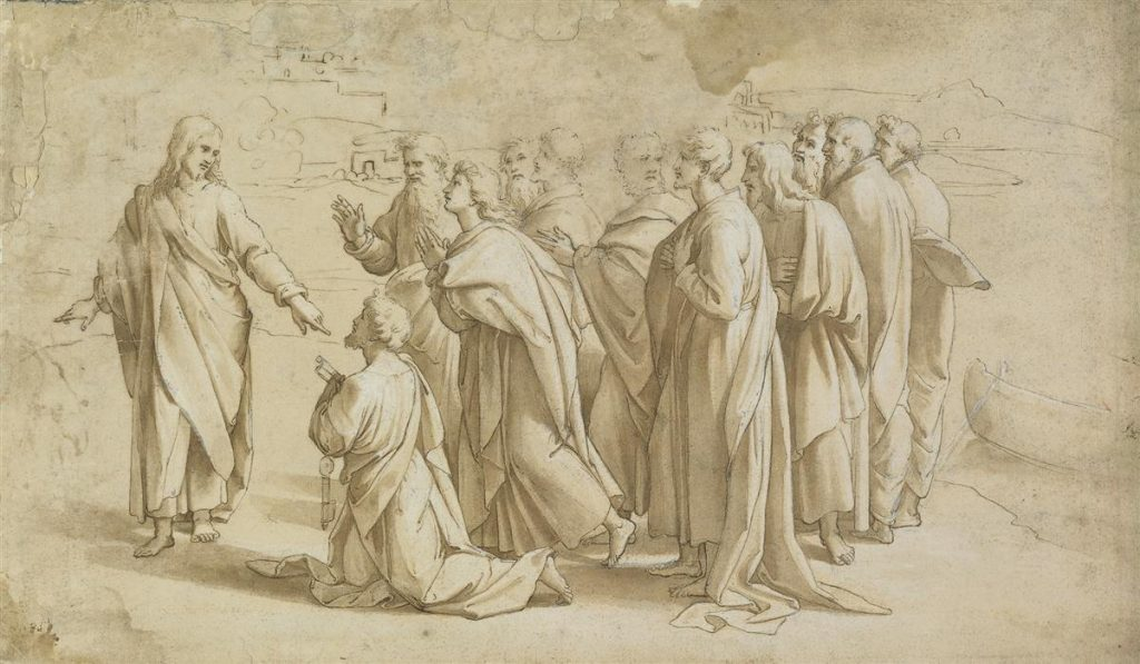 Raffaello Sanzio da Urbino, Christ's Charge to Peter, pen, brown ink & wash with white heightening, scene of Jesus giving Peter the keys to heaven surrounded by the disciples.