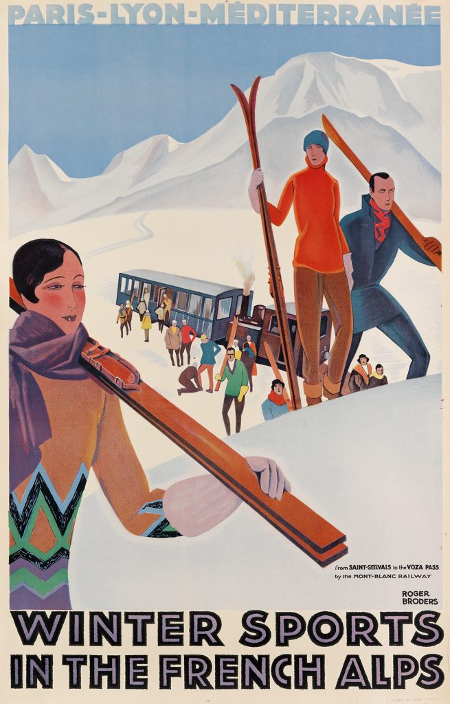 Roger Broders, Winter Sports in the French Alps, skiers filing up a snowy mountain, circa 1929.