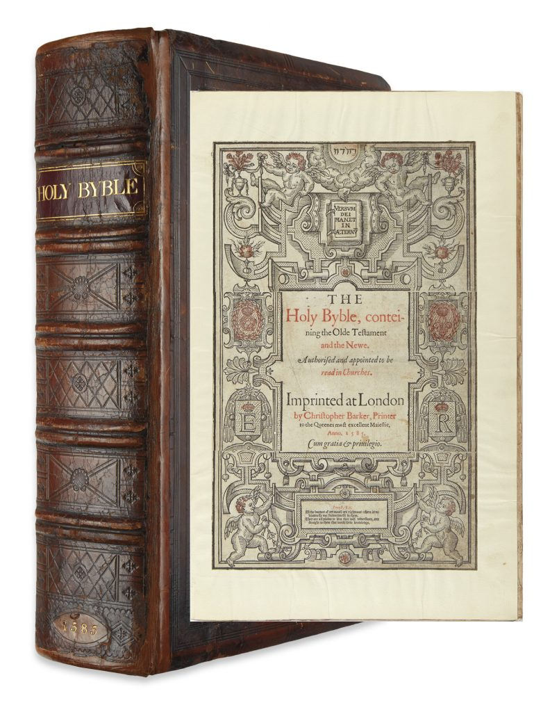 The Holy Byble, conteining the Olde Testament and the Newe, image of the binding and title page, London, 1585.