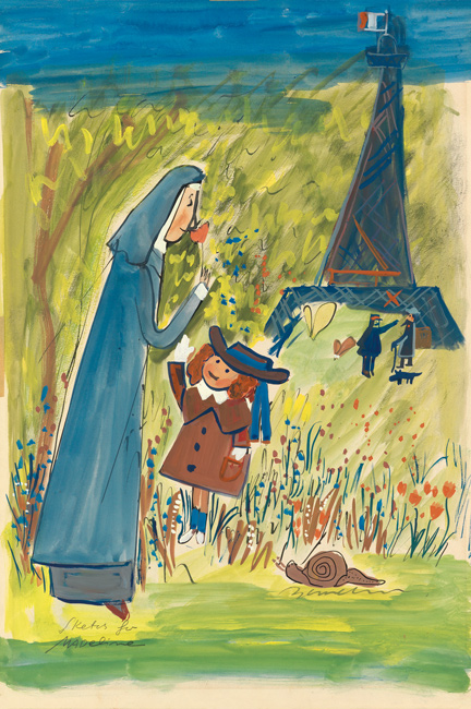 Ludwig Bemelmans, Sketch for Madeline, gouache and ink.