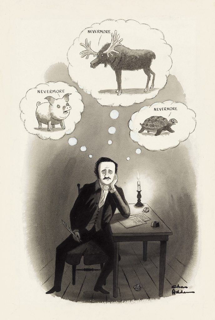 Charles Addams, Nevermore, New Yorker cartoon of Edgar Allan Poe, 1973.