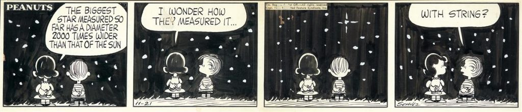 Charles Schulz, The Biggest Star Measured So Far, ink & wash, original four-panel Peanuts comic strip, featuring Lucy and Lionel looking at the stars, 1961