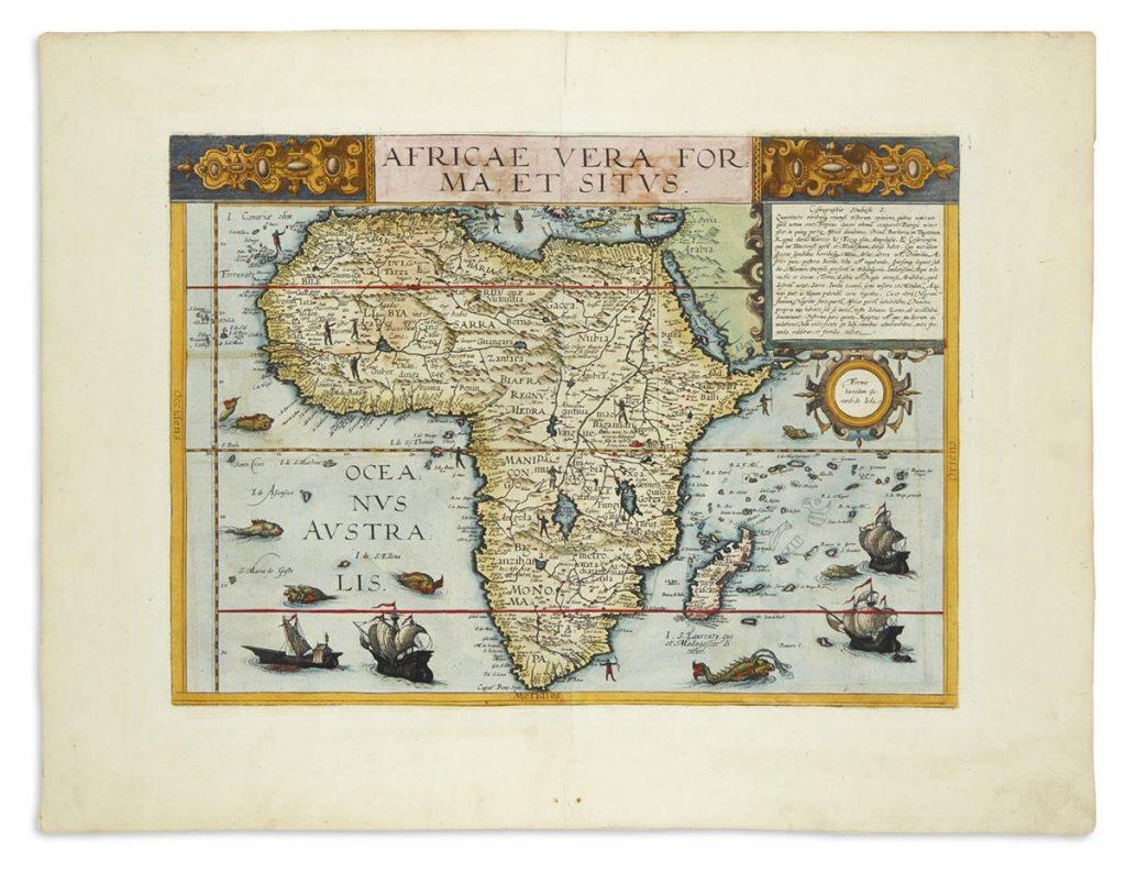 Cornelis de Jode, Africae Vera Forma, et Situs, colored map of Atlas, Antwerp, 1593.