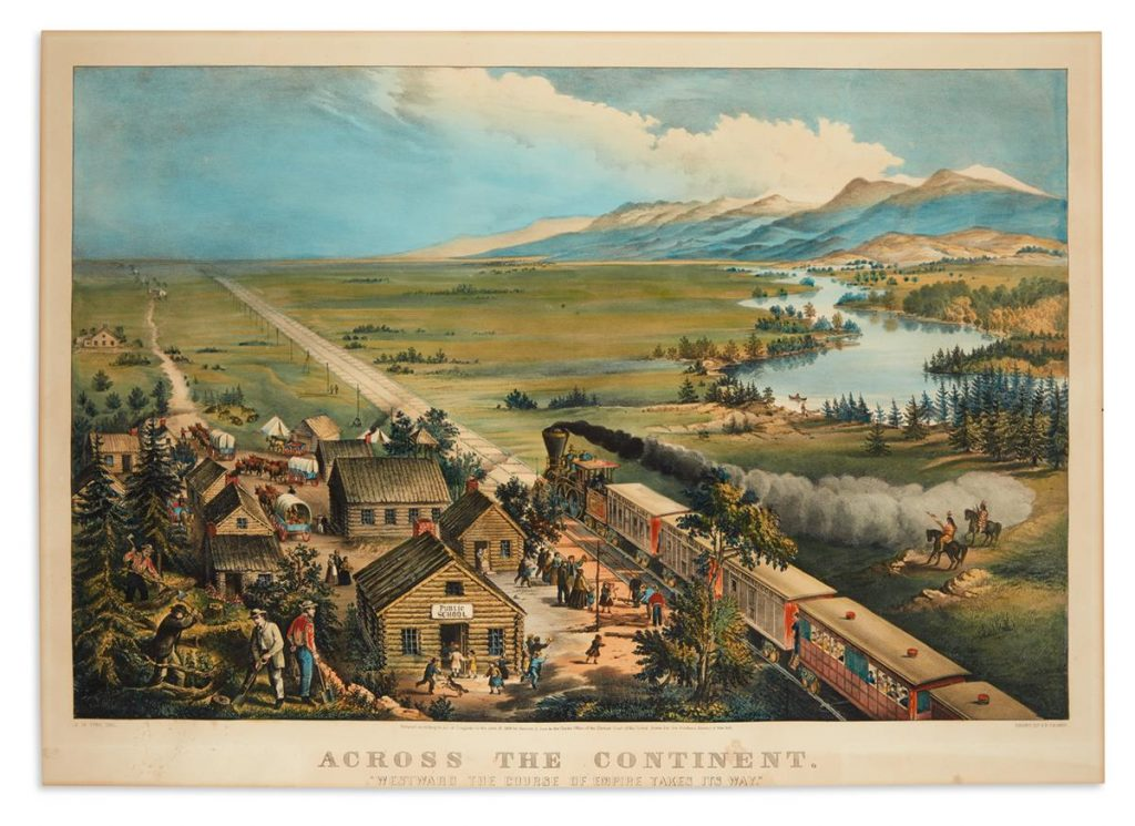 Currier & Ives, Across the Continent, Westward the Course of Empire Takes Its Way, large-folio hand-colored lithograph, of a western expansion scene with houses on one side of a train and the great plains on the other, formerly in the collection of Thomas Winthrop Streeter, 1868.