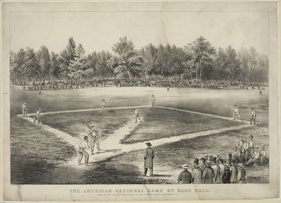 Currier & Ives, The American National Game of Base Ball, lithograph, of people playing baseball in an open field, 1866.