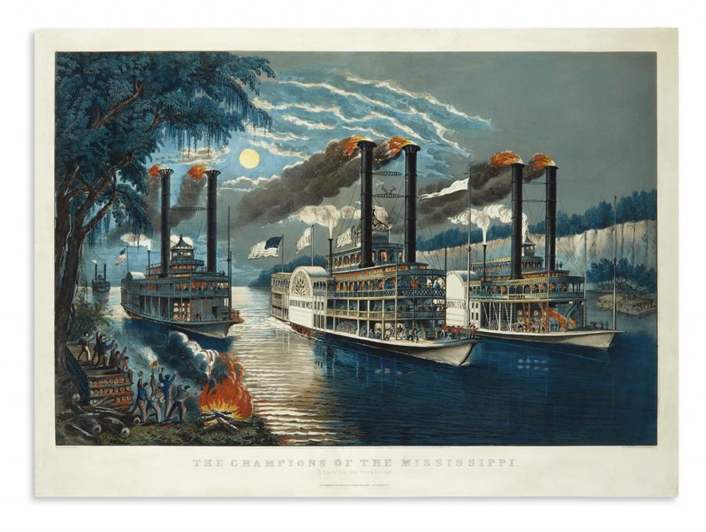 Currier & Ives, The Champions of the Mississippi, A Race for the Buckhorns, large-folio hand-colored lithograph, of a dramatic steamboat race, 1866.