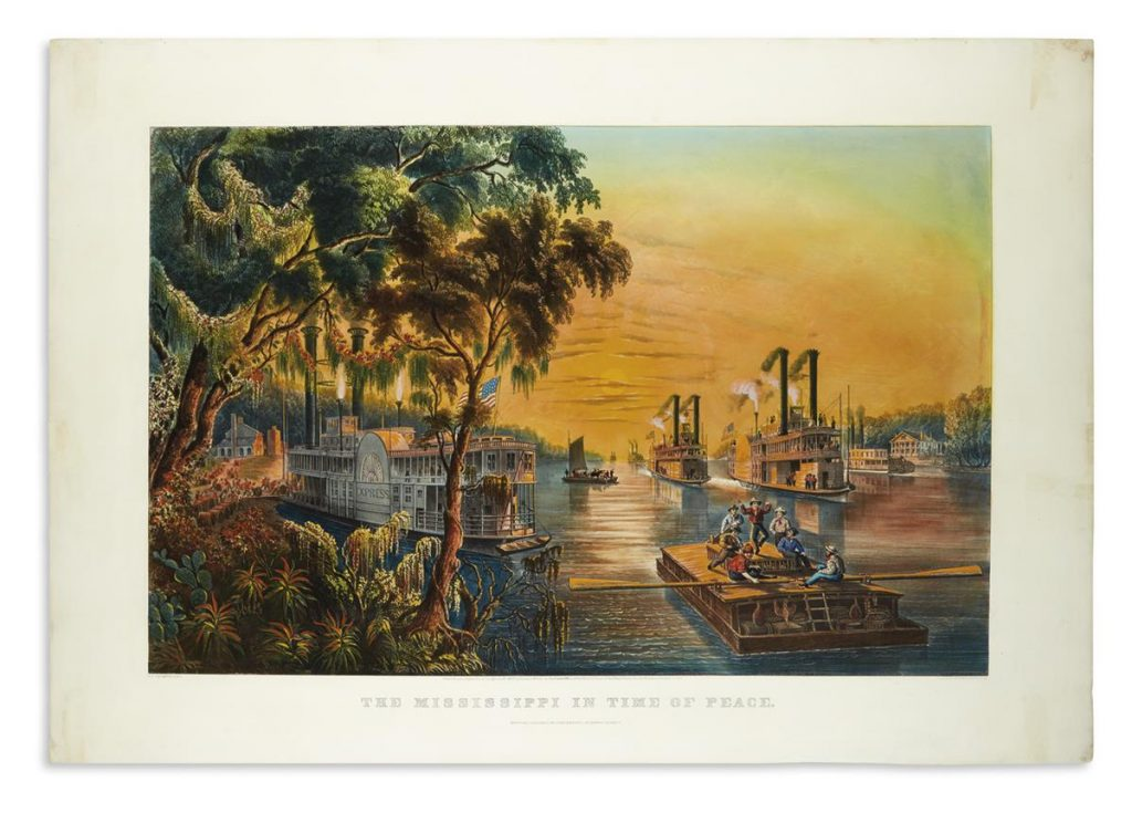 Currier & Ives, Mississippi in the Time of Peace, large folio hand-colored lithograph of flatboats and paddle steamers relaxed under a glowing post-Civil War sunset, 1865.