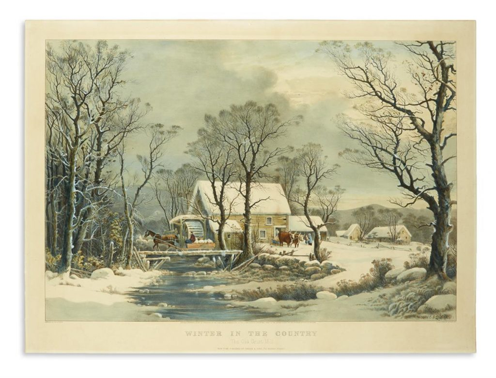 Currier & Ives, Winter in the Country. The Old Grist Mill, large-folio hand-colored lithograph of farmers braving the elements to collect feed bags from a frozen country mill, 1864
