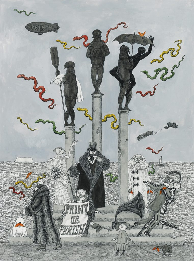 Edward Gorey, Print or Perish, pen, ink, watercolor & wash of a surreal image of statues and people, illustration for the cover of Print Magazine, 1988.