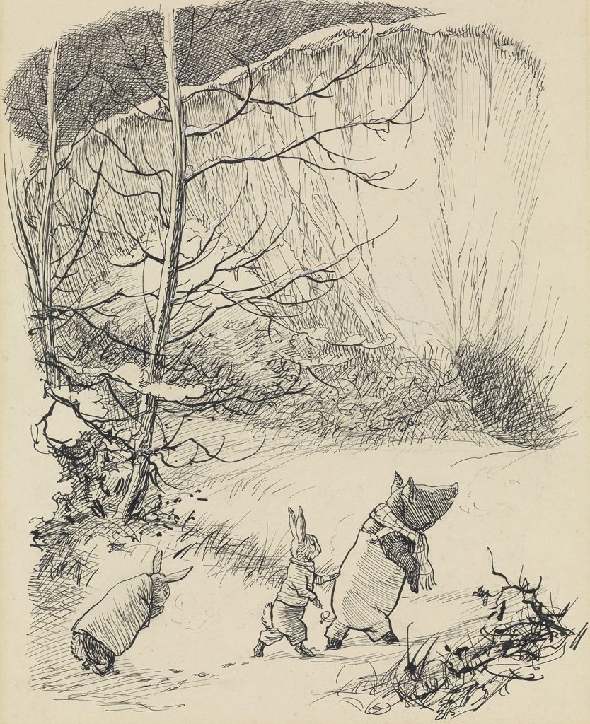 Ernest H. Shepard, He Lead them into the Chalk-Pit, Till they Stood at the Very Foot, illustration from Bertie's Escapade by Kenneth Grahame of a pig leading two bunnys, 1949.