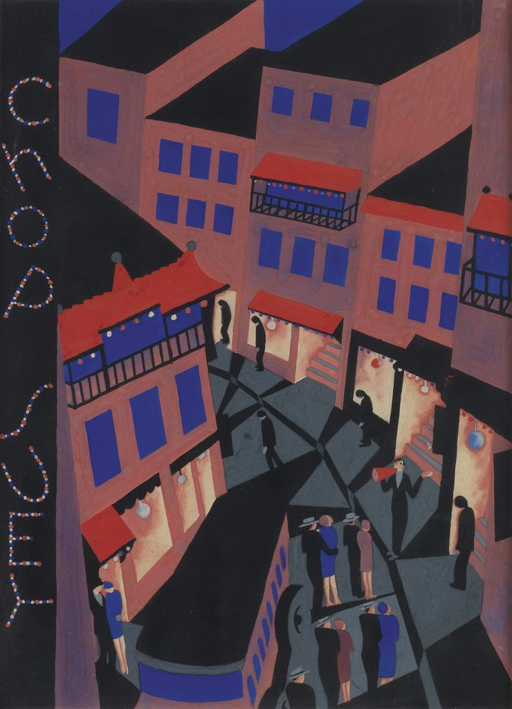 Ilonka Karasz, Chop Suey, gouache with graphite featuring an Art Deco nighttime street scene, cover illustration for the August 27, 1927 issue of The New Yorker.