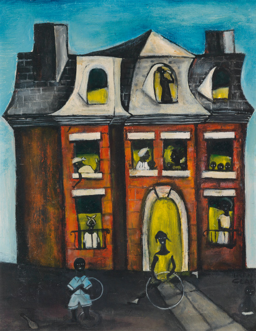 Irene V. Clark, Mansion on Prairie Avenue, oil on masonite board, circa 1962.