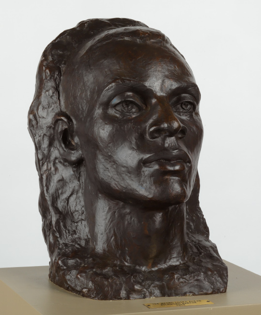 Richmond Barthé, The Negro Looks Ahead, cast bronze with dark brown patina, mounted on wood pedestal, 1940.