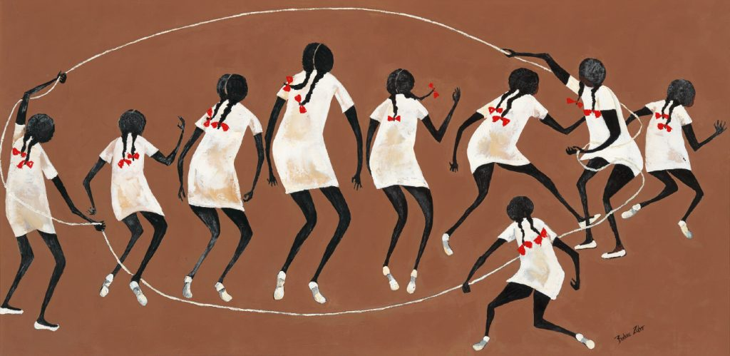 Barbara Johnson Zuber, Jump Rope, oil on canvas, circa 1970.