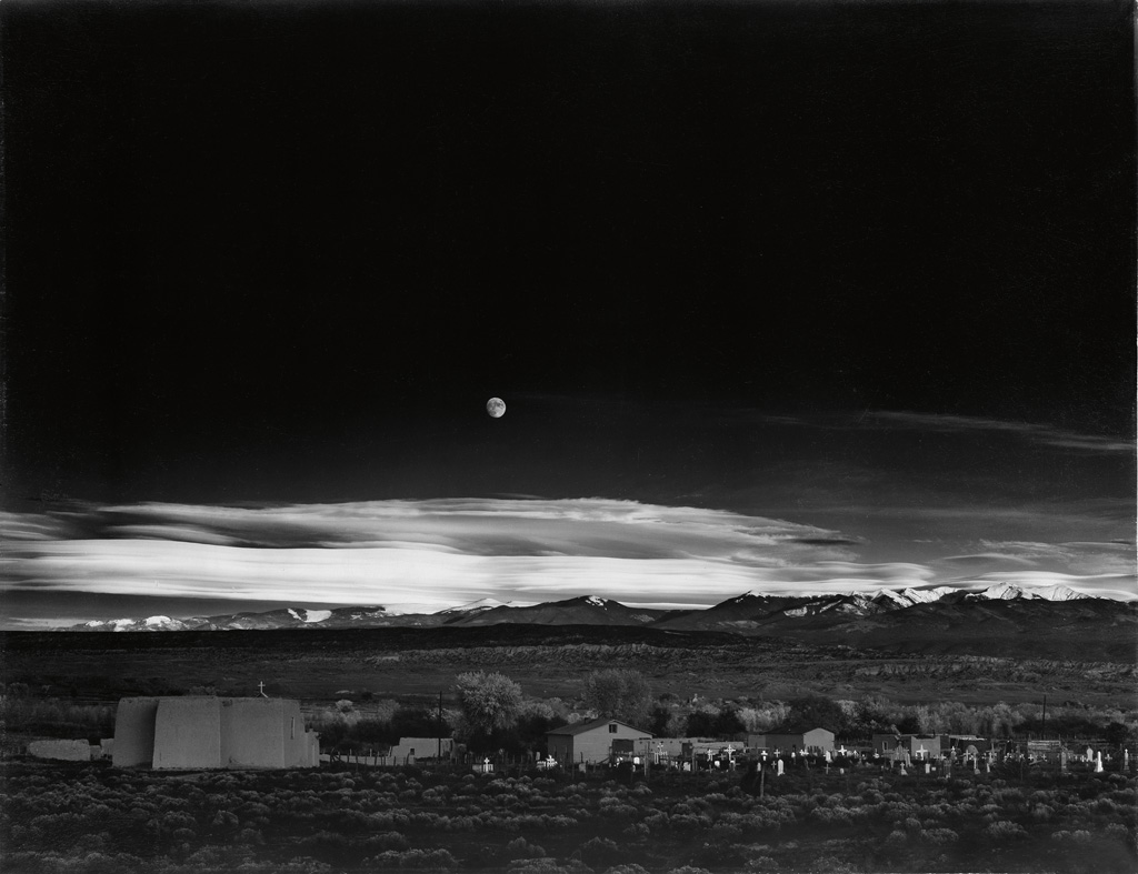 Ansel Adams, Moonrise, Hernandez, New Mexico, mural-sized silver print, reprocessed 1948, printed early- to mid-1950s.