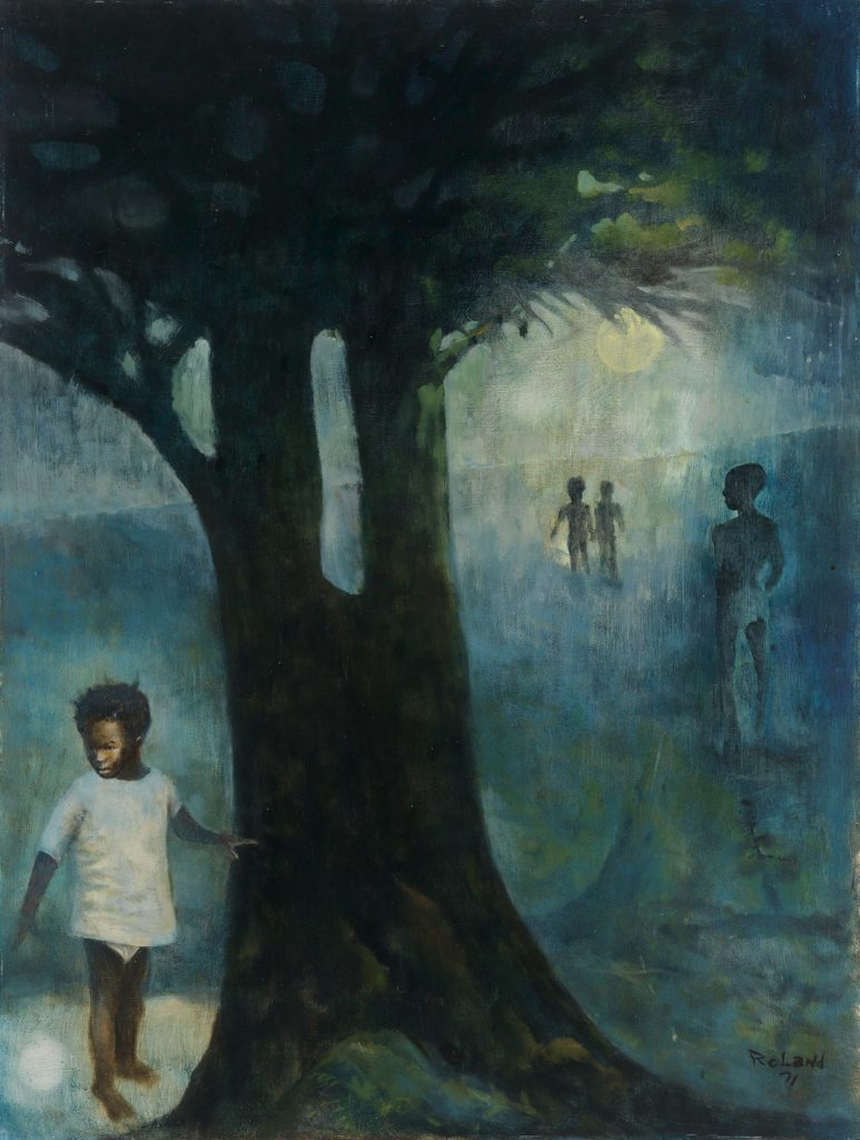 Arthur Roland, Backwood Playground, oil on board, little boys playing in a forrest, 1971.