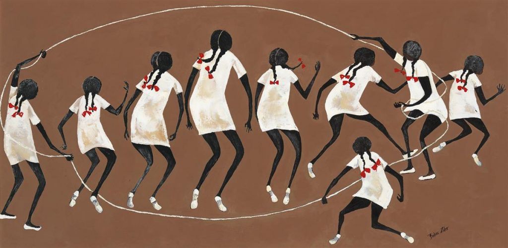 Barbara Johnson Zuber, Jump Rope, oil on canvas, little girls playing double Dutch, circa 1970.