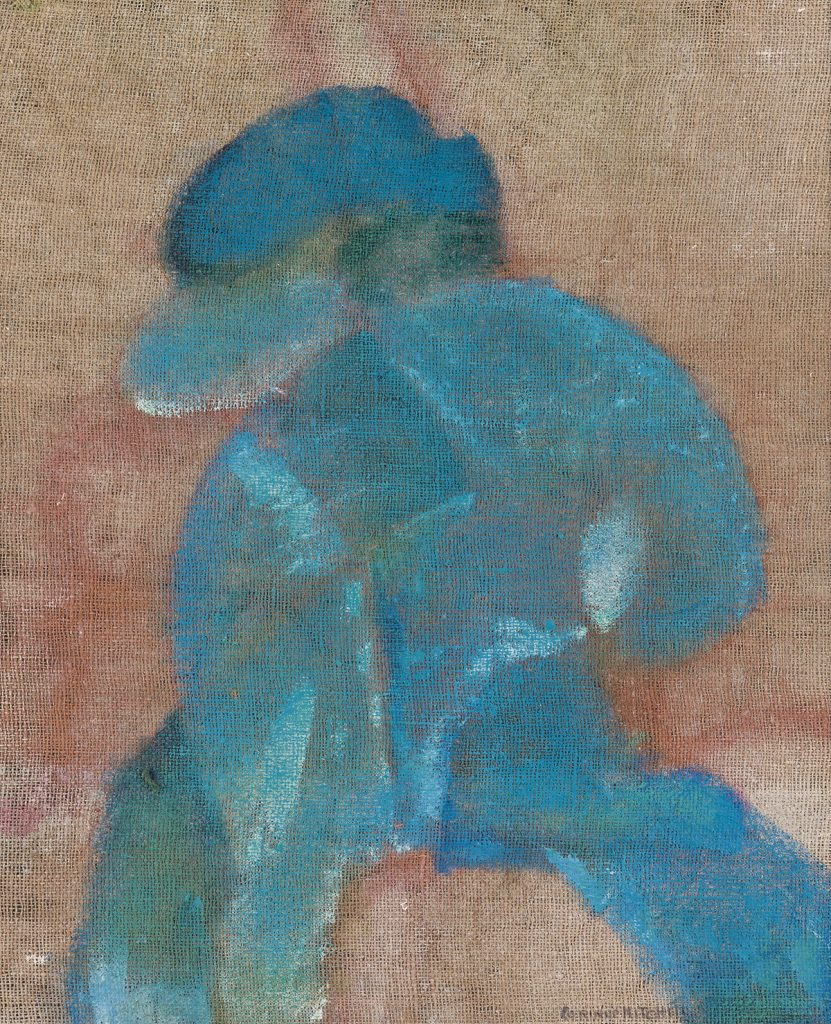 Corrine Mitchell, Man Hurrying Home, oil on canvas, abstract image of blue man walking, 1970.