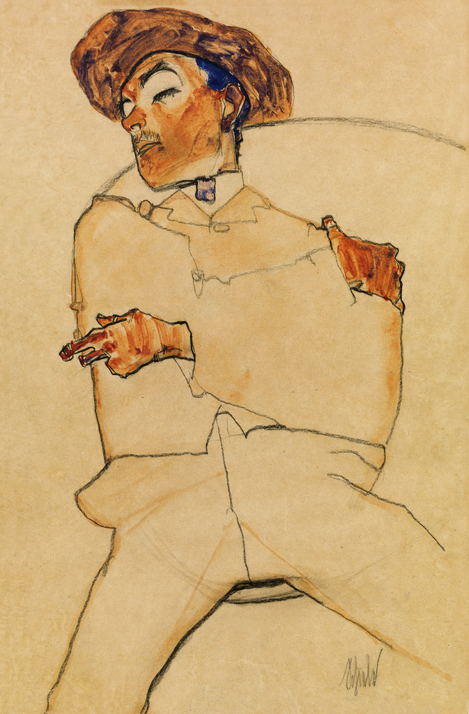 Egon Schiele, Schlafender Mann, watercolor, pencil & black crayon, 1910.
