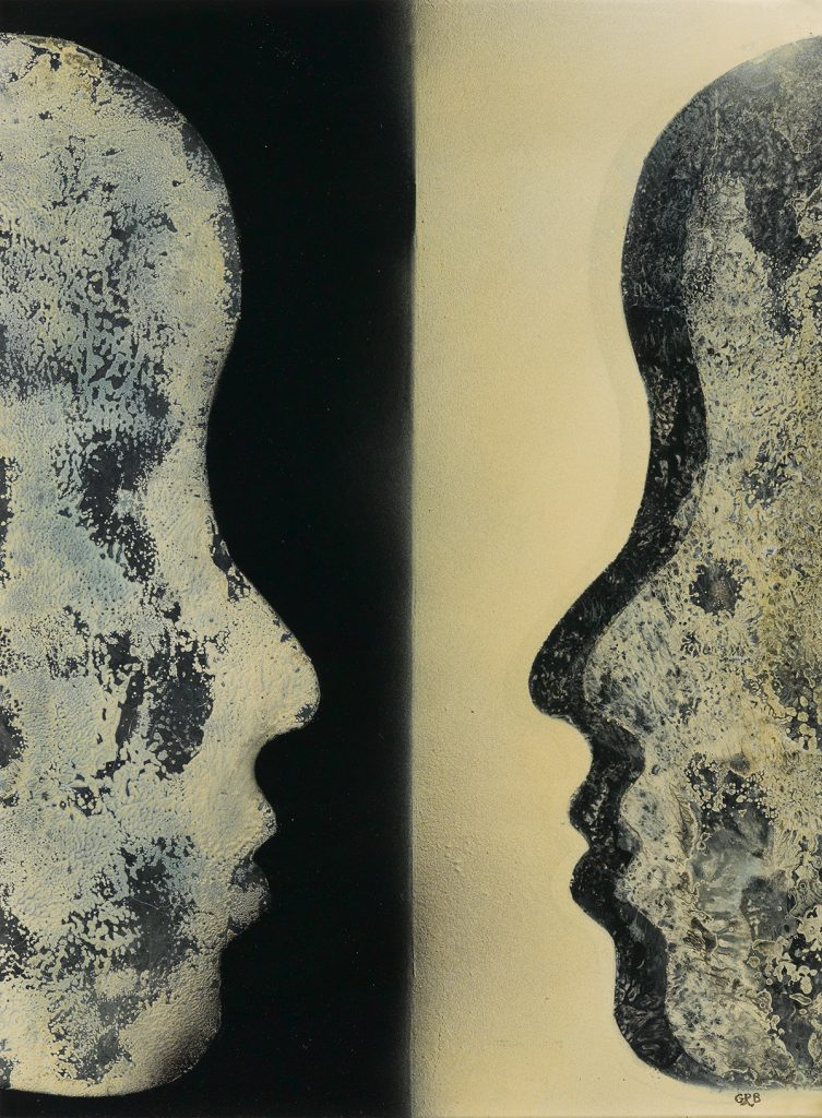 Gloria R. Bohanon, Who Reflects Who, oil & enamel on board, two silhouetted side profiles facing each other, circa 1970.