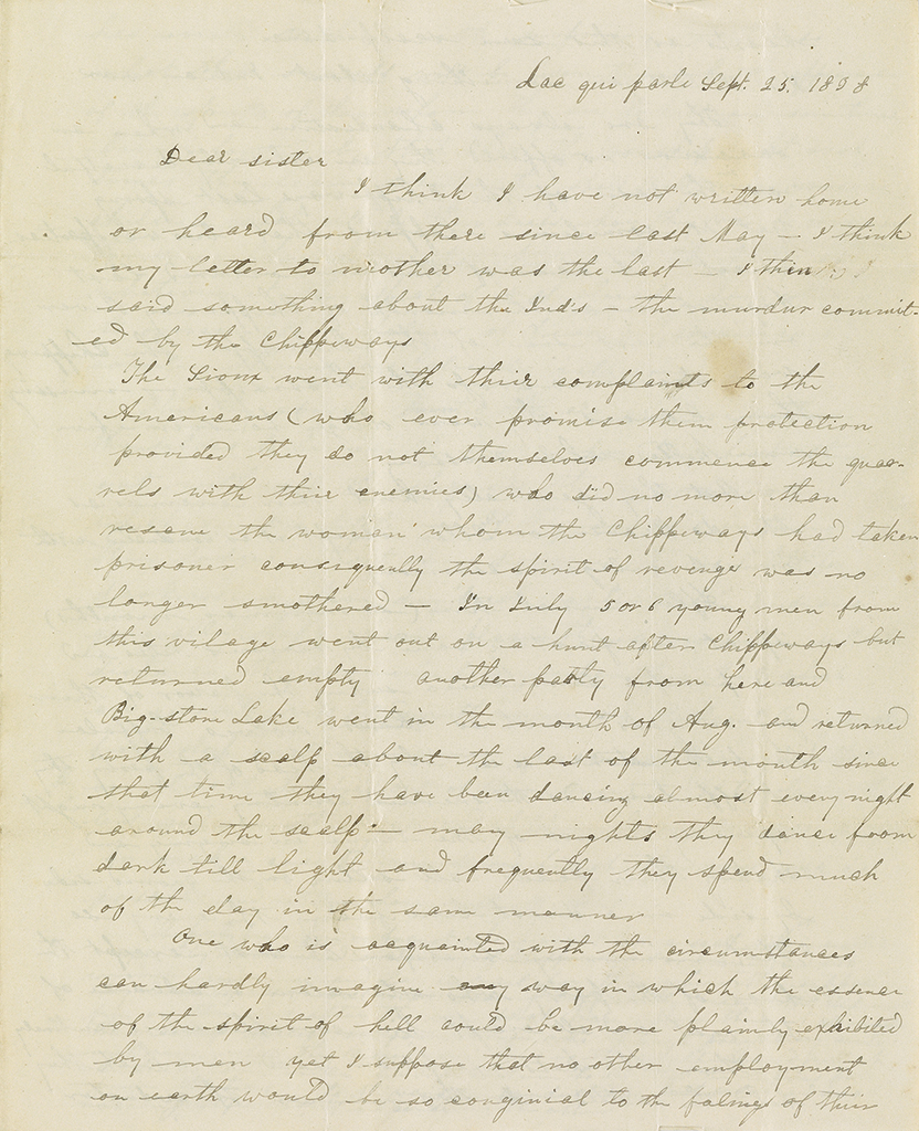 Large archive of Indian missionary letters written by the Pond family on the Minnesota frontier, 1833-93