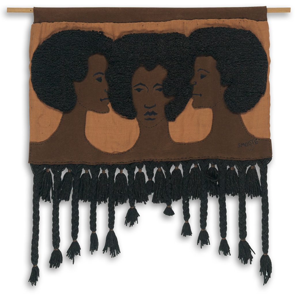 Jim S. Smoote II, Untitled (Three Women), looped & woven wool on stitched felt & burlap, 1969.