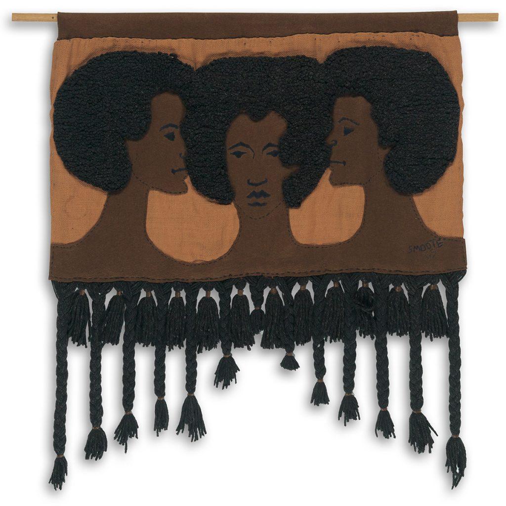 Jim S. Smoote II, Untitled (Three Women), looped & woven wool on stitched felt & burlap, 1969.