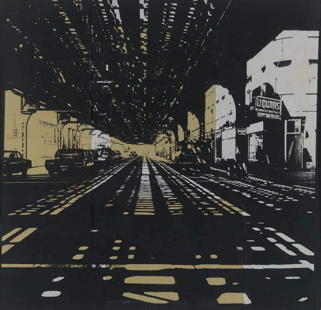 José J. Williams, 63rd Street, collage of screenprint, printed in silver & gold ink, sidewalk scene underneath a bridge, 1975.