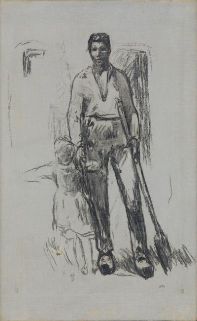 Jean-François Millet, Paysan debout et Enfant, charcoal on canvas, circa 1871-72.