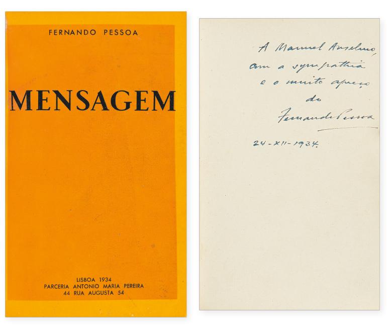 Fernando Pessoa, Mensagem, first edition, presentation copy, signed and inscribed, Lisbon, 1934.