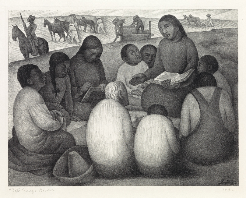 Diego Rivera, Open Air School, lithograph, 1932.