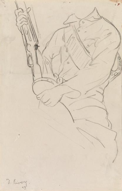 Diego Rivera, Study for Un Maestro Protegido por Soldados Revolucionarios, pencil, 1923.