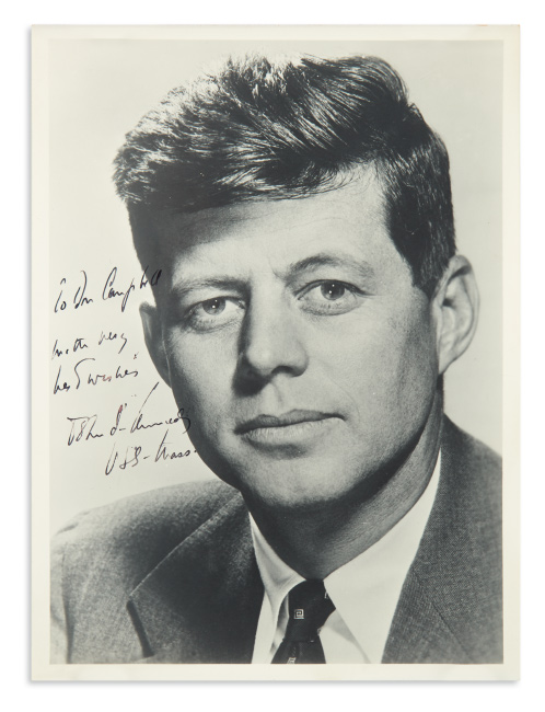 John F. Kennedy, photograph signed and inscribed to Don Campbell,     portrait by Philippe Halsman.