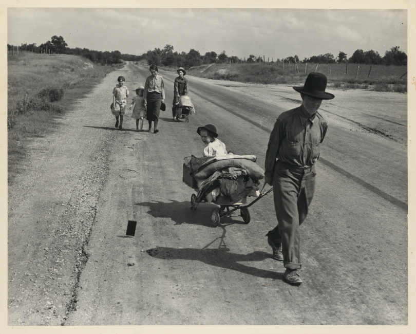 Dorothea Lange, Family walking on highway, five children, silver print, 1938, printed circa 1960.