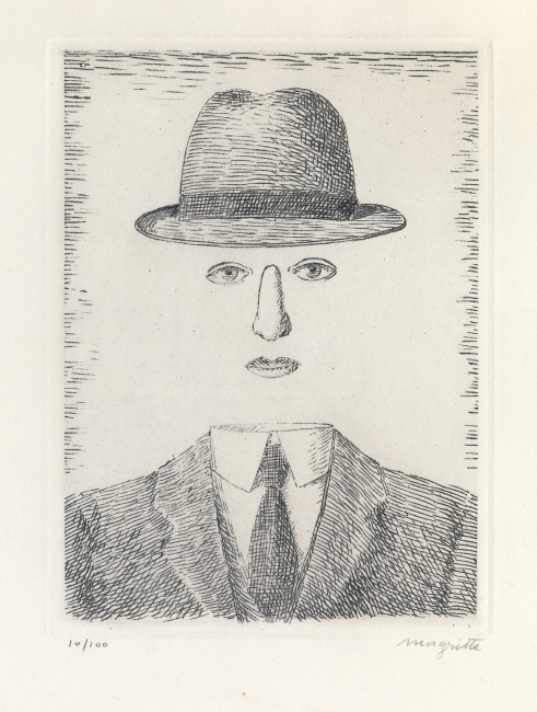 René Magritte, Paysage de Baucis (Self Portrait with Hat), etching, 1966.