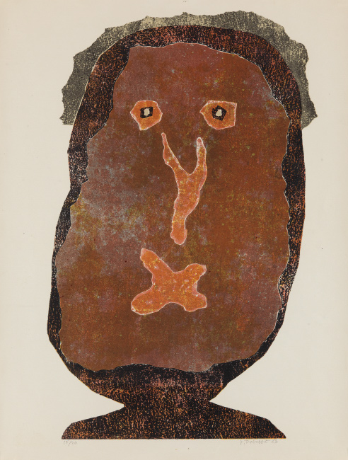 Jean Dubuffet, L'enfle-chique II, color lithograph, 1963.