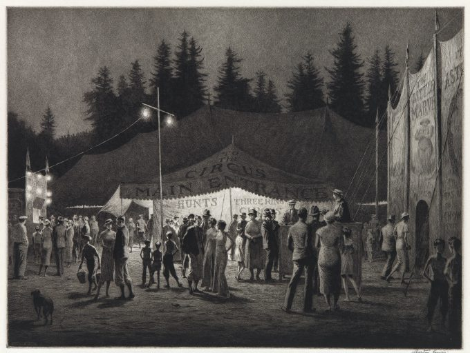 Martin Lewis, Circus Night, drypoint and sand ground, 1933.