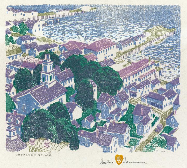 Gustave Baumann, Provincetown, color woodcut, 1917.